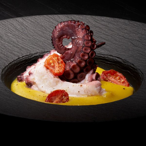 Octopus with roasted cherry tomatoes in saffron potato cream